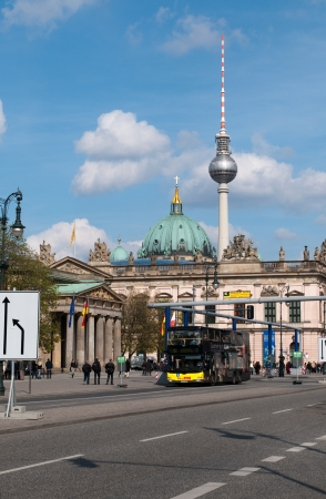 arsenal: BERLIN, GERMANY - April, 14: View on Zeughaus (old Arsenal), The Berliner Dom and television tower in Berlin. Editorial