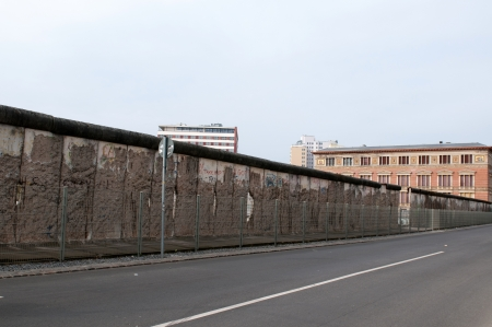 cold war: The remains of berlin wall in Berlin Gemany Stock Photo