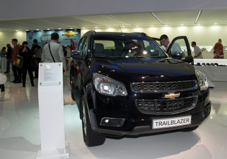 trailblazer: MOSCOW, RUSSIA - August 31: Moscow International Automobile Salon 2012. Chevrolet TrailBlazer - european premiere