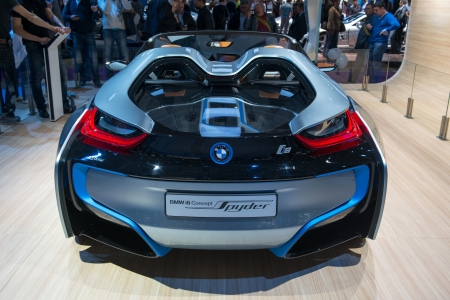 MOSCOW, RUSSIA - August 31: Moscow International Automobile Salon 2012. BMW  i8 Spyder Concept - European premiere