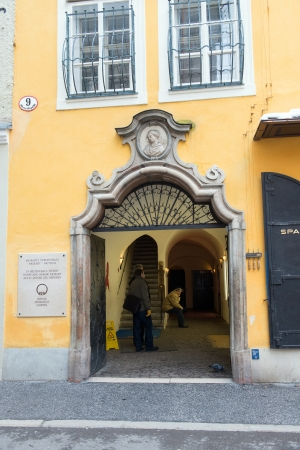 Old house on Getreidegasse where the W.A. Mozart was born on January 13, 2013 in Salzburg, Austria. Mozart is known as the one of the most famouse composers of the classical music. Stock Photo - 18605053