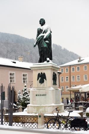 mozart: Mozart statue on Mozart Square (Mozartplatz) located at Salzburg, Austria on January 13, 2013.