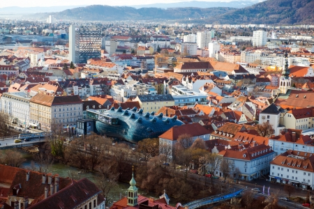 Panorama of Graz, beautiful view from Schlossberg above the city.Kunsthaus