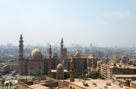 View over Cairo city with Mosque of Sultan Hassan and Al Rifai Mosque  photo