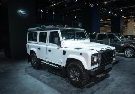 defender: FRANKFURT, GERMANY - SEPTEMBER 11: Frankfurt international motor show (IAA) 2013. Land Rover Defender