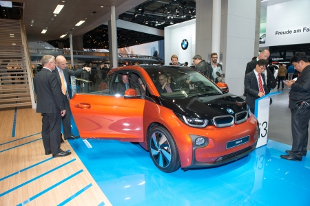 i3: FRANKFURT, GERMANY - SEPTEMBER 11: Frankfurt international motor show (IAA) 2013. BMW i3 is the world's first premium all-electric car - world premiere