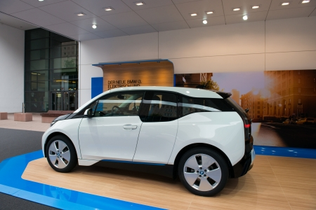 i3: FRANKFURT, GERMANY - SEPTEMBER 11: Frankfurt international motor show (IAA) 2013. BMW i3 is the world's first premium all-electric car - world premiere Editorial