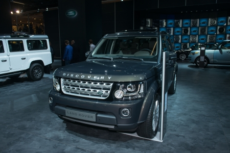 FRANKFURT, GERMANY - SEPTEMBER 11: Frankfurt international motor show (IAA) 2013. Land Rover Discovery 2014 - world premiere