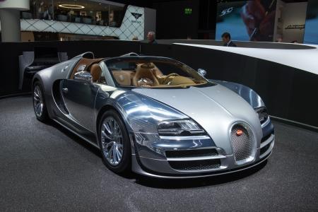 "FRANKFURT, GERMANY - SEPTEMBER 11: Frankfurt international motor show (IAA) 2013. Bugatti Veyron 16.4 Grand Sport Vitesse ""Jean Bugatti"" - world premiere"