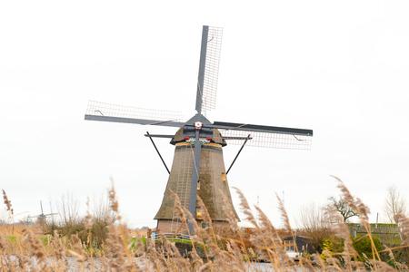 watermanagement: Traditional Dutch windmill in winter Kinderdijk. Netherlands. Stock Photo