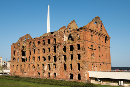 volgograd: Ruined during the World War 2 red brick mil as a war monument in a center of Volgograd (former Stalingrad). Russia