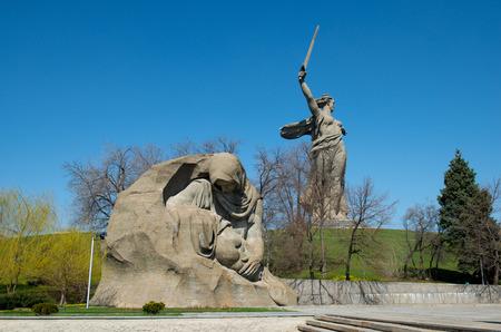 The monument of Grieving Mother in Mamayev Kurgan memorial complex in Volgograd (former Stalingrad), Russia.