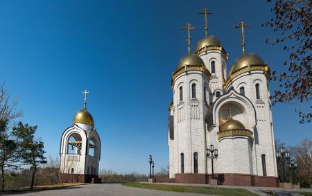volgograd: The church of All Saints in Mamayev Kurgan memorial complex in Volgograd (former Stalingrad), Russia. Stock Photo