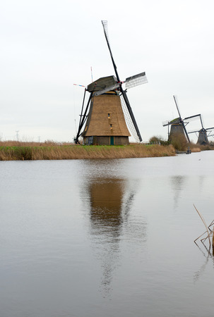 watermanagement: Traditional Dutch windmill in winter Kinderdijk. Netherlands. Editorial