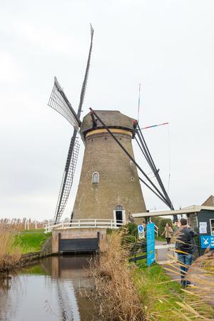 watermanagement: Kinderdijk, Netherlands - December 15. Traditional Dutch windmill in winter Kinderdijk at 15 DEC 2013. Netherlands Editorial
