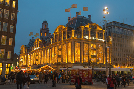 departmentstore: AMSTERDAM, NETHERLANDS - December 15: The flagship department store De Bijenkorf on Da Square, Dec 15, 2013. Editorial