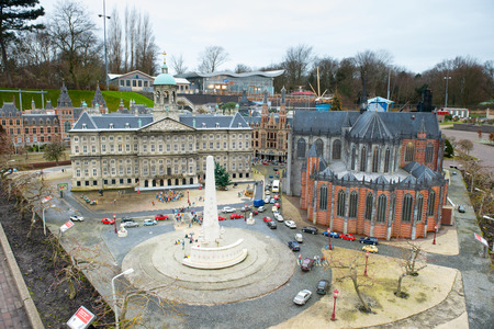 HAGUE, NETHERLANDS - December 16: Madurodam in the The Hague, Netherlands, Dec 16, 2013. Miniature city and tourist attraction with architecture and typical Dutch scenes on a scale 1:25.