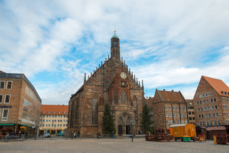 hauptmarkt: NUREMBERG, GERMANY - JAN, 3: View of the Frauenkirche (Our Ladys Church) am Hauptmarkt in Nuremberg, Germany on January 3, 2014 Editorial
