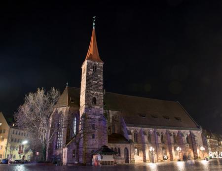 View of the St. Jakob Church at the Jakobsplatz at night. Nuremberg, Germany
