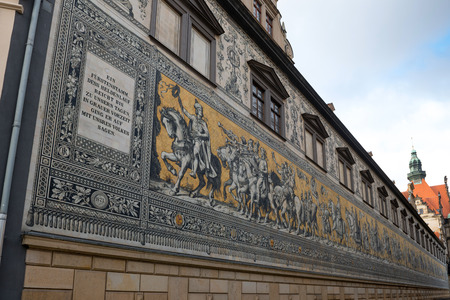 Fuerstenzug (Procession of Princes) is a giant mural on a wall in Dresden