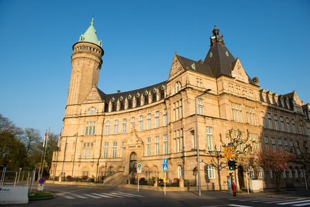 LUXEMBOURG CITY, LUXEMBOURG - APRIL 5, 2014: Tower of the state owned savings bank is the most famous bank building of Luxembourg at April 5