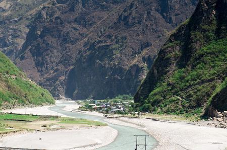 tal: Tal village in Annapurna Circuit - most popular turists trek in Himalayan mountain massive in Nepal.