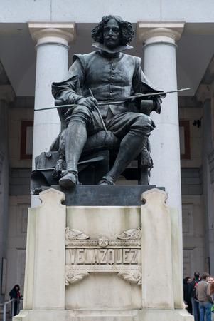 velazquez: MADRID, SPAIN - OCT 12, 2014: Statue of Diego Rodriguez Velazquez at the front of Prada Museum in Madrid, Spain on Oct 12, 2014. Editorial