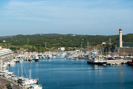 menorca: MAHON, SPAIN - OCT 07, 2014: View of the port of Mahon, Menorca, Spain, on Oct  07, 2014
