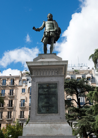 playwright: MADRID, SPAIN - OCT 12, 2014: Statue of Miguel de Cervantes - Spanish novelist, poet, and playwright on Plaza de las Cortes in Madrid, Spain on Oct 12, 2014. Editorial