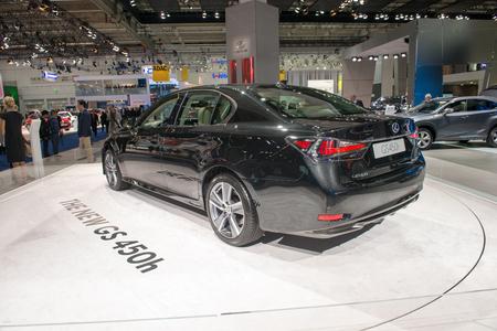 lexus: FRANKFURT, GERMANY - SEPTEMBER 16, 2015: Frankfurt international motor show (IAA) 2015. Lexus GS 450H - European premiere.