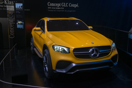 coupe: FRANKFURT, GERMANY - SEPTEMBER 16, 2015: Frankfurt international motor show (IAA) 2015. Mercedes-Benz GLC Coupe Concept - world premiere. Editorial