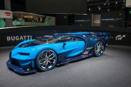 FRANKFURT, GERMANY - SEPTEMBER 16, 2015: Frankfurt international motor show (IAA) 2015. Bugatti Vision Gran Turismo - world premiere.