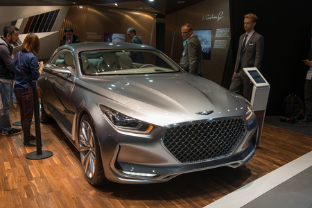 coupe: FRANKFURT, GERMANY - SEPTEMBER 16, 2015: Frankfurt international motor show (IAA) 2015. Hyundai Vision G Coupe Concept