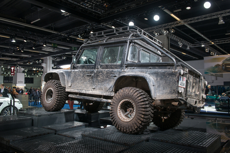 spectre: FRANKFURT, GERMANY - SEPTEMBER 16, 2015: Frankfurt international motor show (IAA) 2015. Land Rover Defender form the Spectre movie, the 24th James Bond adventure.