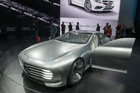 iaa: FRANKFURT, GERMANY - SEPTEMBER 16, 2015: Frankfurt international motor show (IAA) 2015. Mercedes-Benz Concept IAA (Intelligent Aerodynamic Automobile) - world premiere.