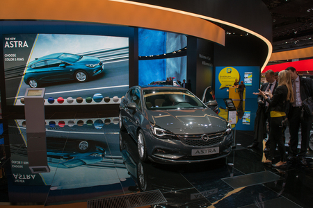 astra: FRANKFURT, GERMANY - SEPTEMBER 16, 2015: Frankfurt international motor show (IAA) 2015. Opel Astra - world premiere.