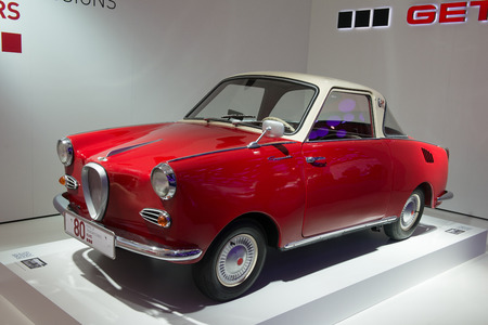 coupe: FRANKFURT, GERMANY - SEPTEMBER 16, 2015: Frankfurt international motor show (IAA) 2015. Goggomobil TS 250 Coupe - old-fashion car from 1957.
