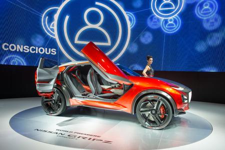 nissan: FRANKFURT, GERMANY - SEPTEMBER 16, 2015: Frankfurt international motor show (IAA) 2015. Nissan Gripz Concept - world premiere.