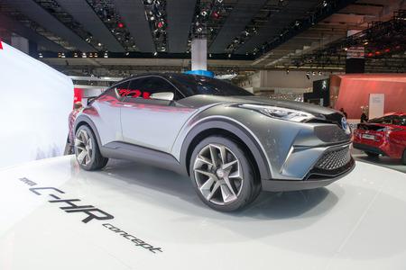 chr: FRANKFURT, GERMANY - SEPTEMBER 16, 2015: Frankfurt international motor show (IAA) 2015. Toyota C-HR Concept - world premiere.