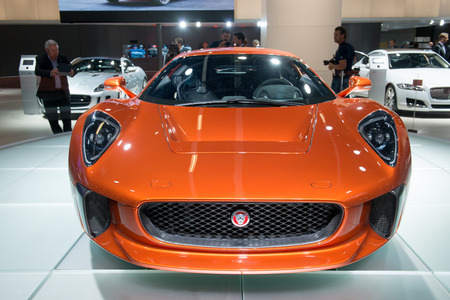 spectre: FRANKFURT, GERMANY - SEPTEMBER 16, 2015: Frankfurt international motor show (IAA) 2015. Jaguar C-X75 concept vehicle form the Spectre movie, the 24th James Bond adventure.