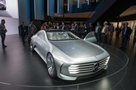 aerodynamic: FRANKFURT, GERMANY - SEPTEMBER 16, 2015: Frankfurt international motor show (IAA) 2015. Mercedes-Benz Concept IAA (Intelligent Aerodynamic Automobile) - world premiere.
