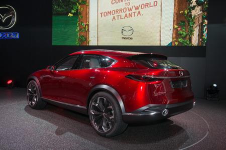 crossover: FRANKFURT, GERMANY - SEPTEMBER 16, 2015: Frankfurt international motor show (IAA) 2015. Crossover SUV concept Mazda Koeru - world premiere.