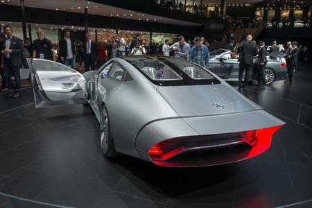 iaa: FRANKFURT, GERMANY - SEPTEMBER 16, 2015: Frankfurt international motor show (IAA) 2015. Mercedes-Benz Concept IAA (Intelligent Aerodynamic Automobile) - world premiere.