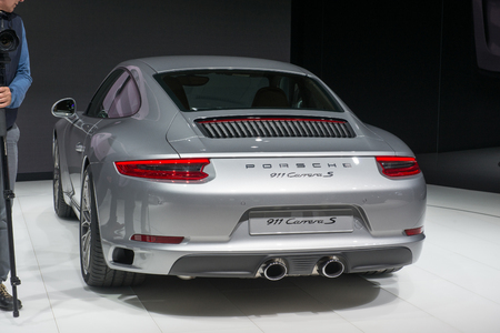 carrera: FRANKFURT, GERMANY - SEPTEMBER 16, 2015: Frankfurt international motor show (IAA) 2015. Porsche 911 Carrera New - world premiere.