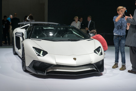 lamborghini: FRANKFURT, GERMANY - SEPTEMBER 16, 2015: Frankfurt international motor show (IAA) 2015. Lamborghini Aventador Editorial