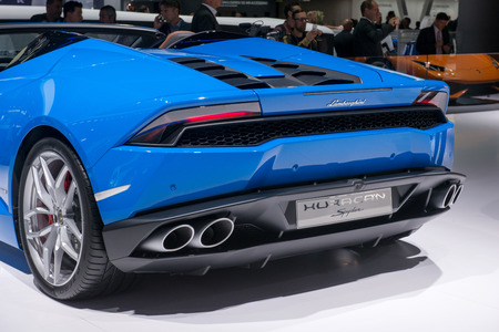 lamborghini: FRANKFURT, GERMANY - SEPTEMBER 16, 2015: Frankfurt international motor show (IAA) 2015. Lamborghini Huracan Editorial