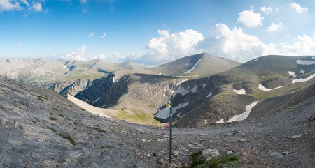 olympus: The trailway on summit of Mount Olympus - highest mountain in Greece Stock Photo
