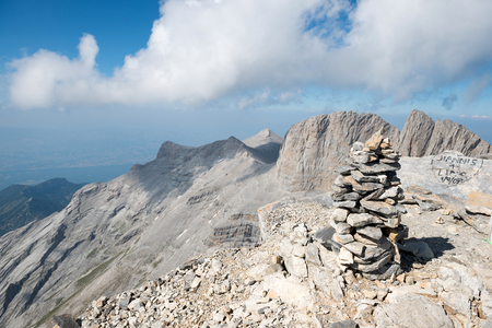 On the top of Mount Olympus - highest mountain in Greece