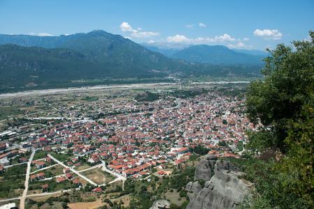kalabaka: View of Kalabaka city from the Meteora mountains, Greece