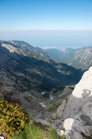trailway: The trailway on summit of Mount Olympus - highest mountain in Greece Stock Photo